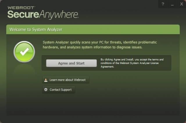 webroot sa - starting interface