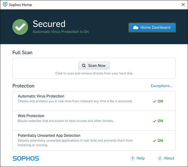 sophos home-interface