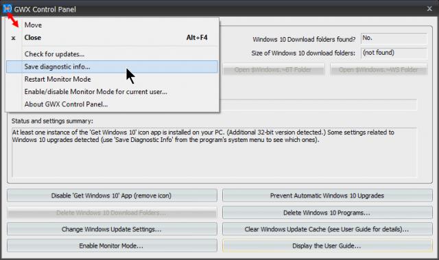 gwx control panel-menu