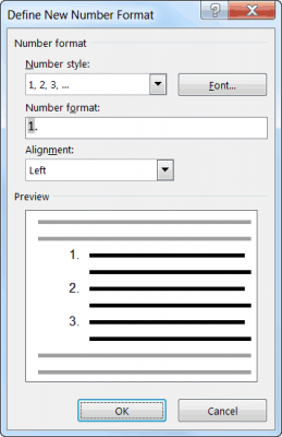 define number format in word