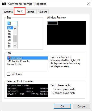 command prompt-font tab