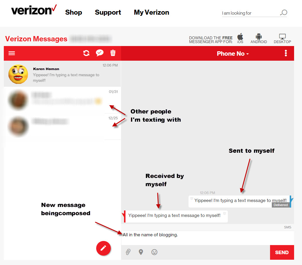 check text messages online verizon