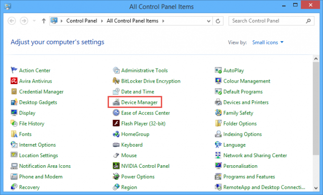 control panel - device manager