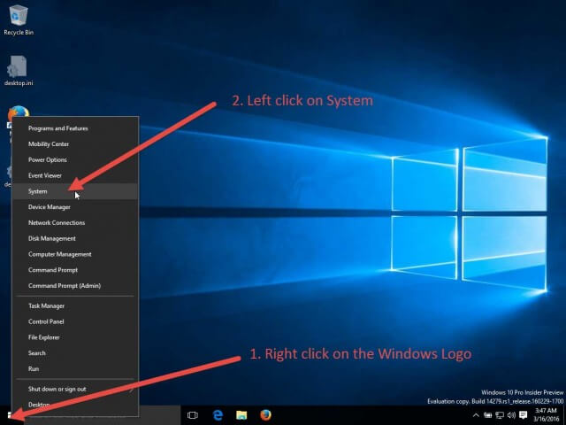 open the windows 10 power user menu