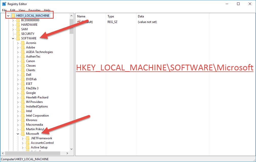 hkey local machine software microsoft windows