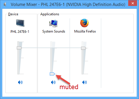 volume mixer-muted