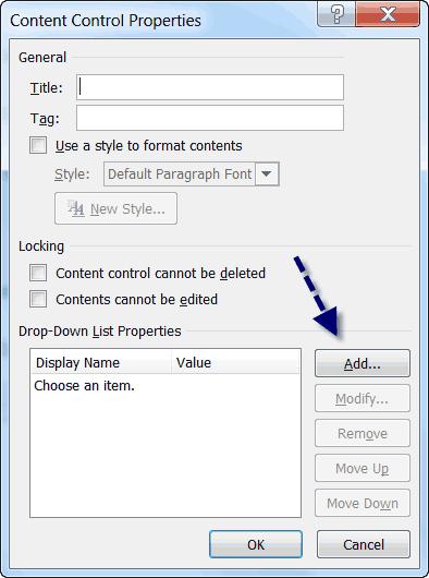 word content control properties