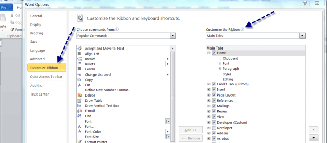 customize word 2010 ribbon