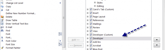 word 2010 developer toolbar