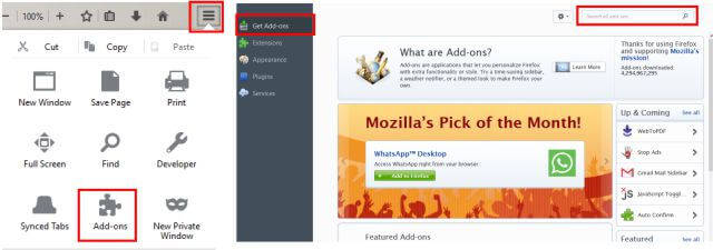 Get Extensions in FireFox
