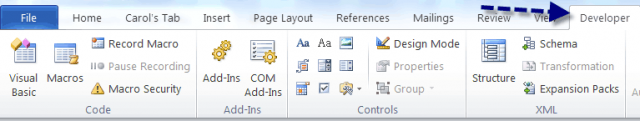 word 2010 developer tab