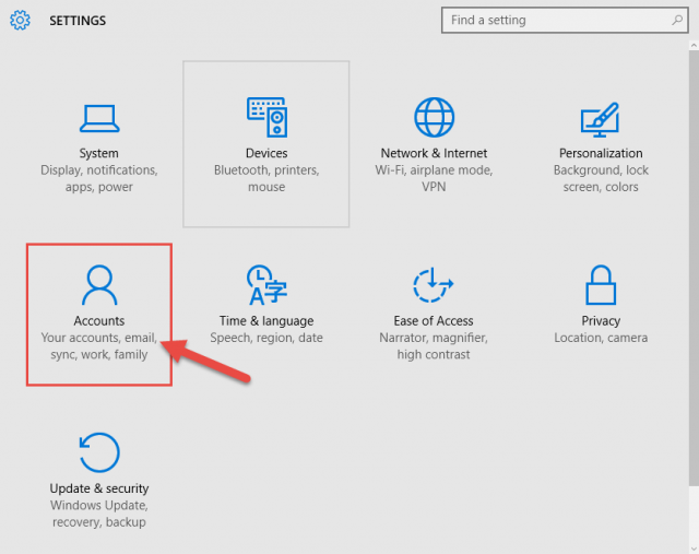 windows 10 settings panel
