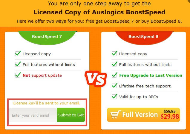 auslogics boostspeed-get it free