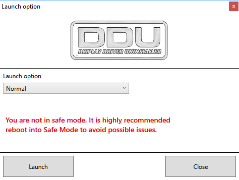 ddu-safe mode 1