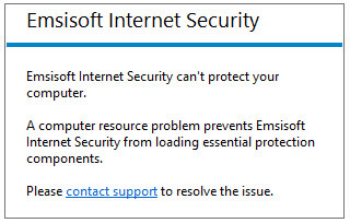 emsisoft warning