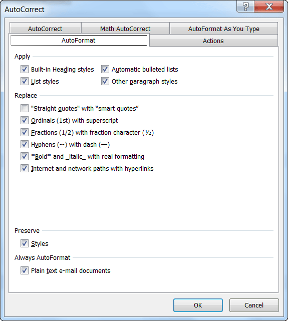 Microsoft Word autocorrect