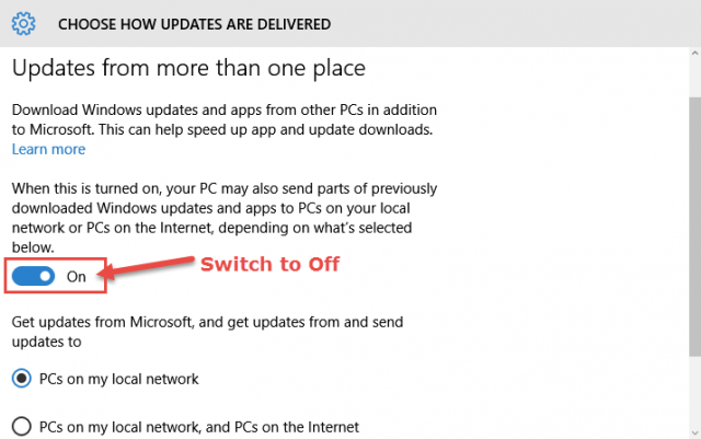 win10-switch off update sharing