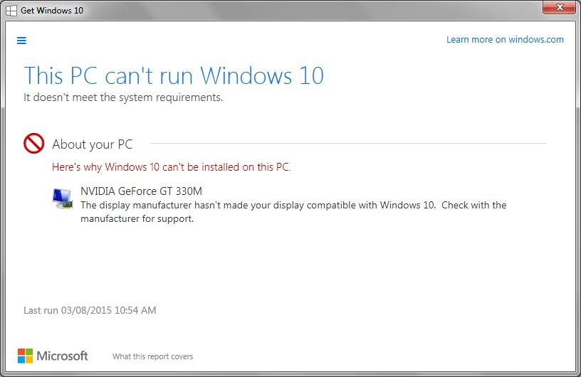 Fix: Incompatible Graphics Display Prevents Windows 10 Upgrade