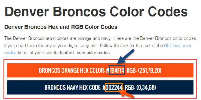 Denver Broncos Color Codes