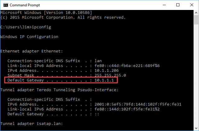 ipconfig-default gateway