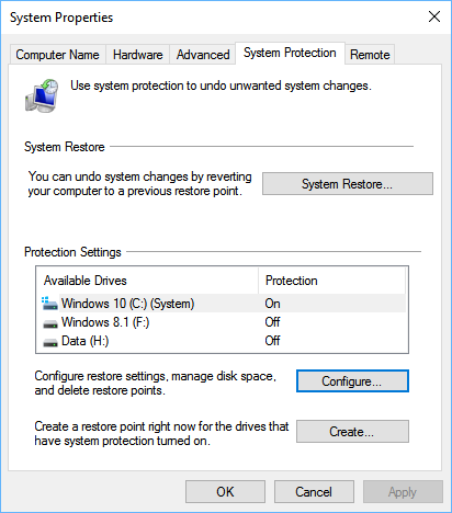 system properties window