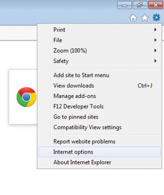 IE Internet options