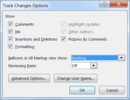 MS word 2013 track changes options
