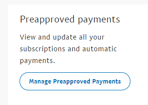 manage preapproved payments paypal