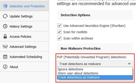 malwarebytes advanced settings