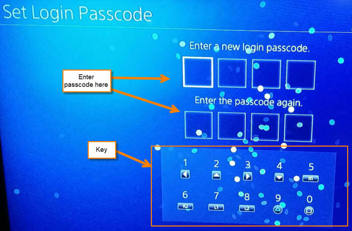 how to set up user passcode for ps4 profile