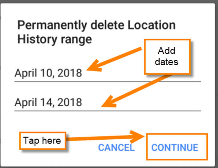 how to delete maps history on android