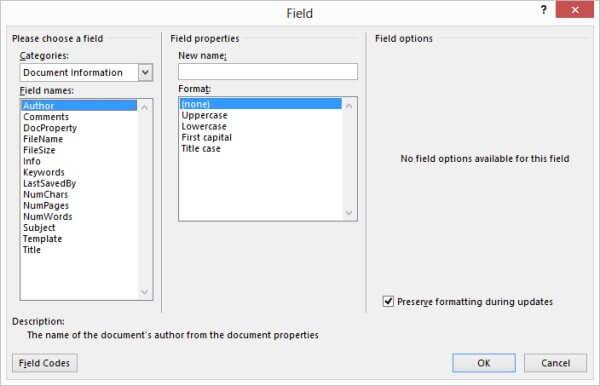 field-dialog-box