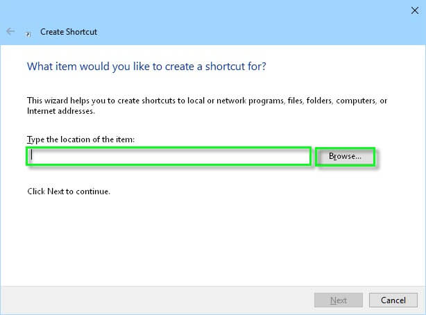 create-shortcut-window