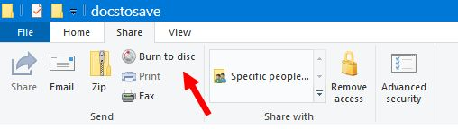 windows 10-file-explorer-burn-to-disc-share