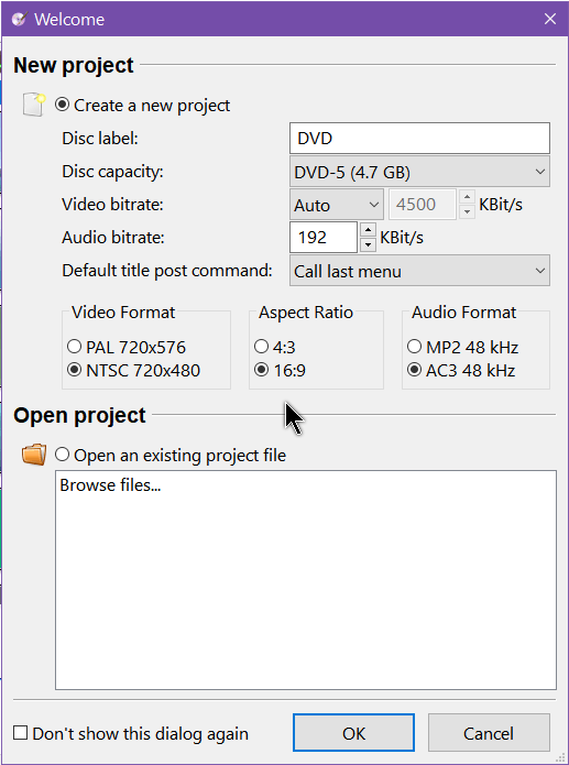 dvdstyler-new-project-window