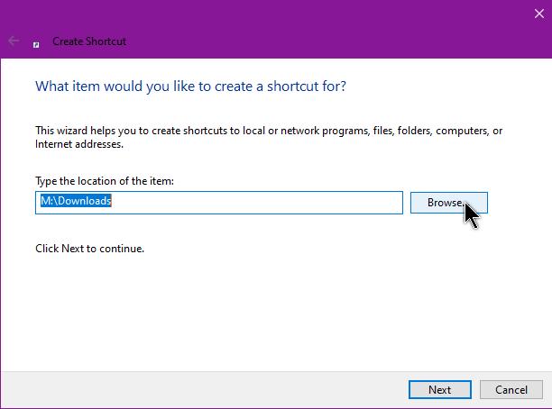 create-shortcut-use-browse-button