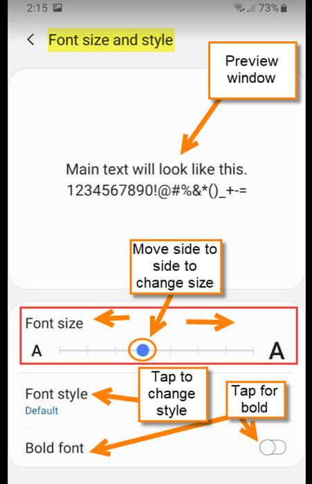 font-adjustment-screen