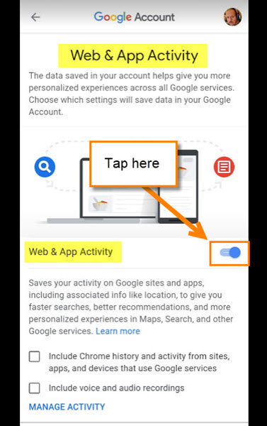 web-and-app-activity-screen