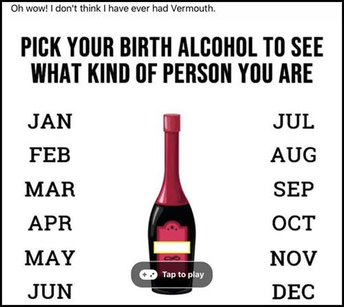 facebook alcohol quiz