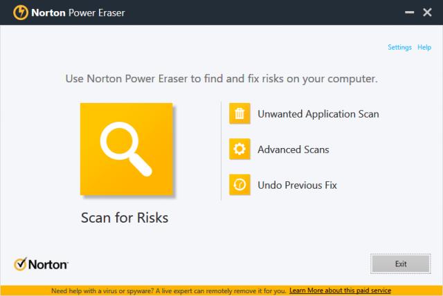 norton power eraser interface