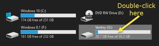 open Ventoy flash drive