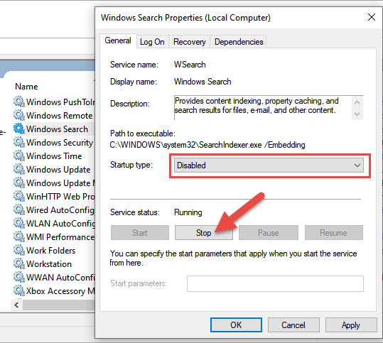 sevices disable windows search
