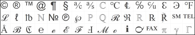 copychar symbols