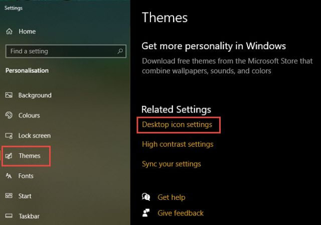 settings personalisation themes desktop icon settings