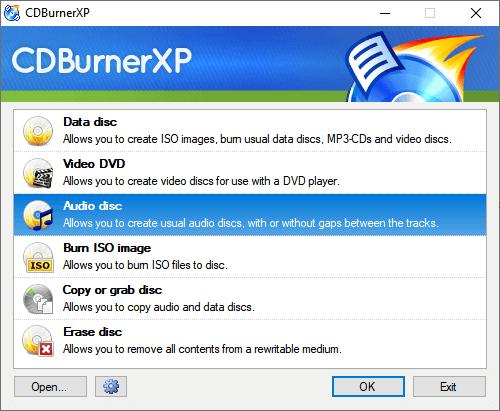 CDBurnerXP Main Interface