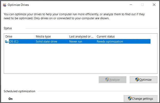 Optimize Drives Settings