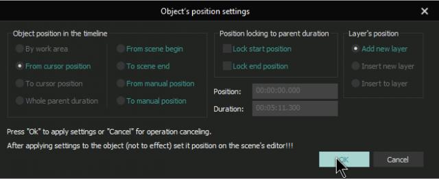 vsdc-object's-position-settings