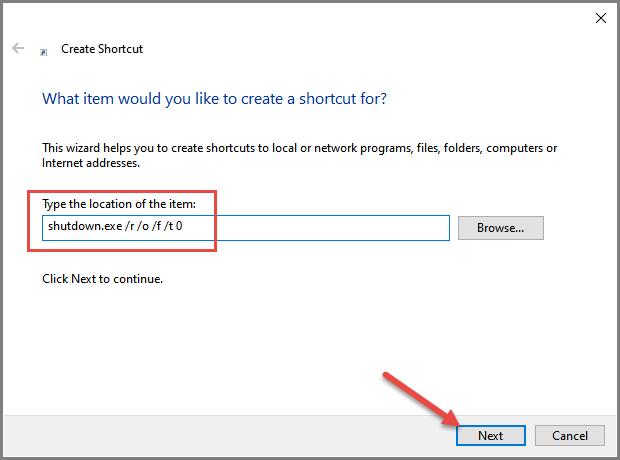 Advanced Startup Create Shortcut