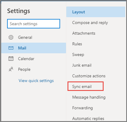 Outlook Settings Layout Sync email
