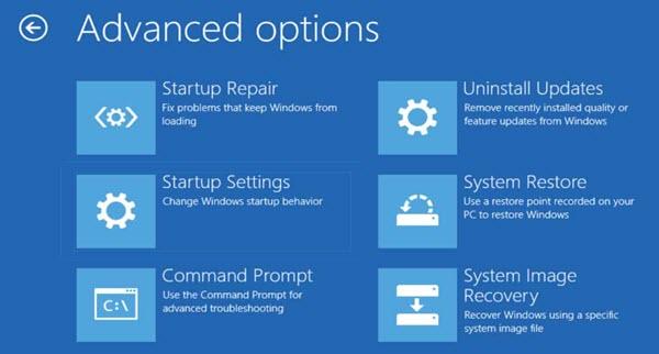 Windows10 Advanced Options Menu